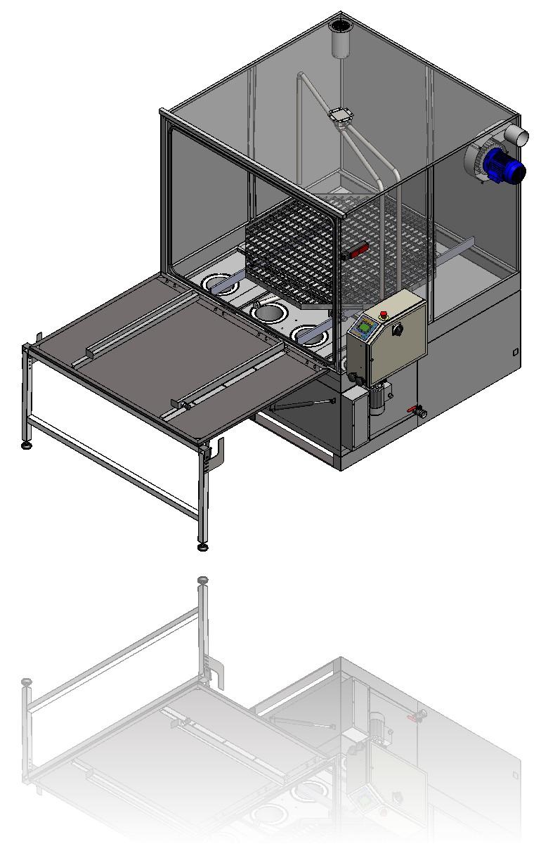 Transparente Waschkammer mit Blick auf die Anordnung und Bewegung der Waschdüsen