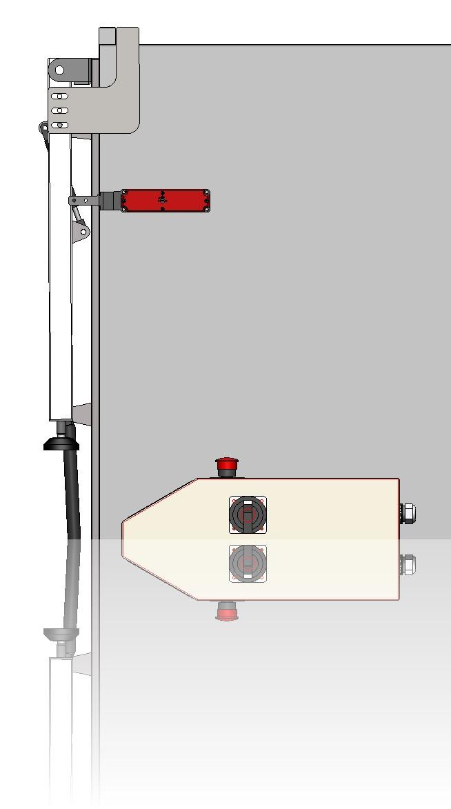 Rechte Seitenansicht mit Blick auf die, mittels Elektromagneten  verschlossene Tür, sowie auf die durch Gasdruck ausgelöste Blockierung