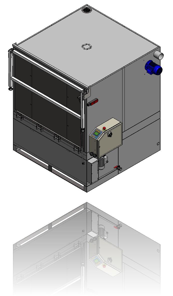Isometrische Ansicht mit geschlossener und blockierter Tür