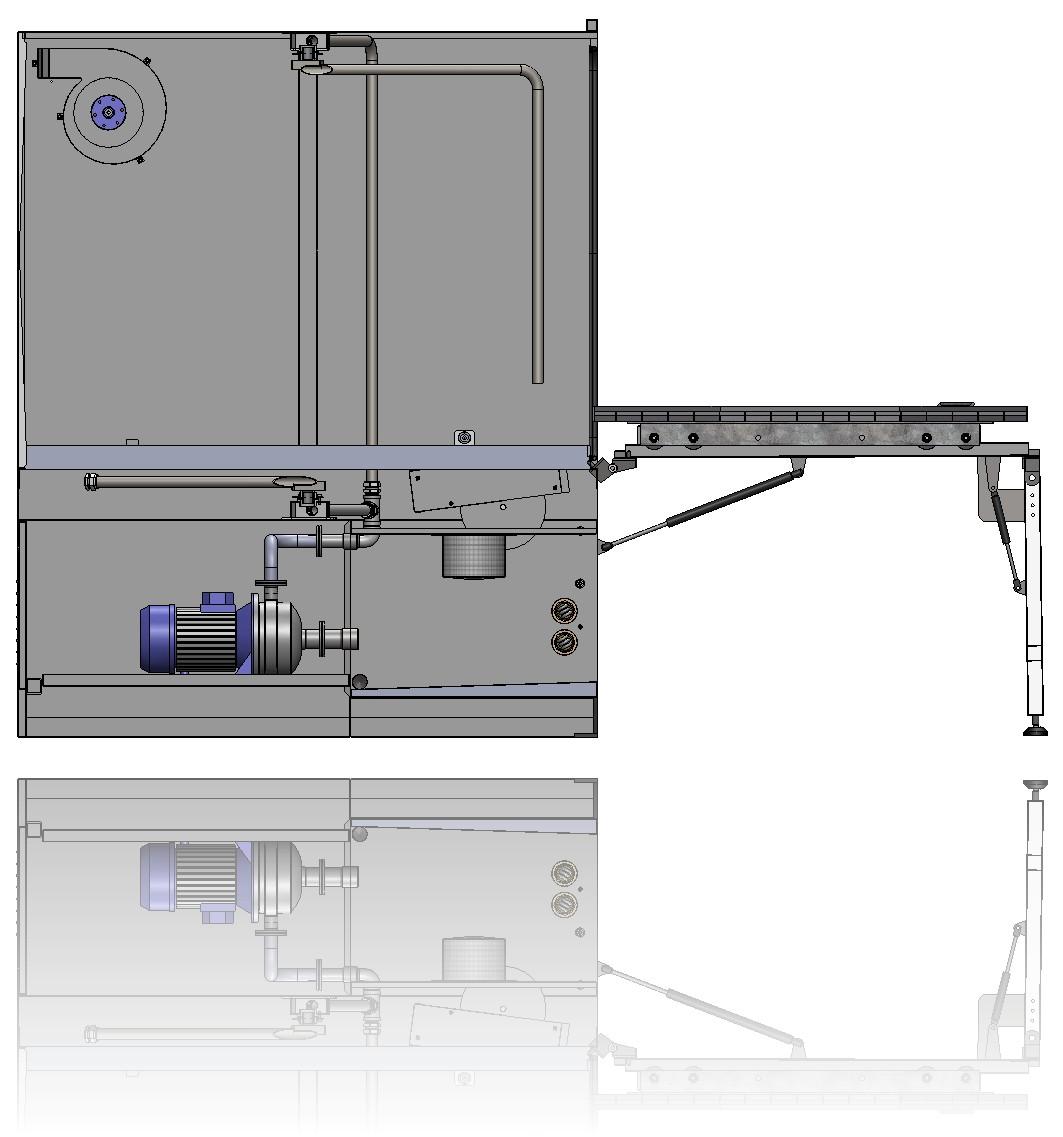 Blick in den Hydraulikbereich